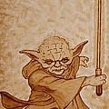 Master Yoda Jedi Fight Beer Painting by Georgeta  Blanaru