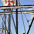Masts And Rigging On A Replica Of The Christopher Columbus Ship  by Sally Rockefeller