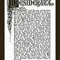 Matted Charcoal Florentine Desiderata Poster by Desiderata Gallery