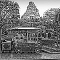 Matterhorn Mountain With Hot Popcorn At Disneyland Bw by Thomas Woolworth