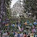 Matterhorn Mountain With Tea Cups At Disneyland by Thomas Woolworth