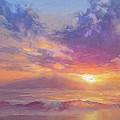 Coastal Hawaiian Beach Sunset Landscape And Ocean Seascape by Karen Whitworth