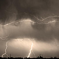 May Showers - Lightning Thunderstorm Sepia 5-10-2011 by James BO Insogna