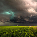 May Thunderstorm - Storm Twists Over House On Colorado Plains by Sean Ramsey