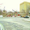 Mcgill University Campus Sherbrooke Street Scene Early Morning Winter Day Montreal Carole Spandau by Carole Spandau