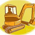 Mechanical Digger Excavator Retro by Aloysius Patrimonio