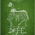 Mechanical Horse Patent Drawing From 1893 - Green by Aged Pixel