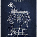 Mechanical Horse Patent Drawing From 1893 - Navy Blue by Aged Pixel