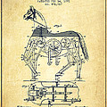 Mechanical Horse Patent Drawing From 1893 - Vintage by Aged Pixel