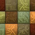 Medieval 12-tile Collage Autumn Colors by S L Kellaway