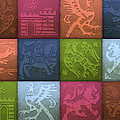 Medieval 12-tile Collage Spring Colors by S L Kellaway
