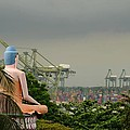 Meditating Buddha Views Container Seaport Singapore by Imran Ahmed
