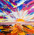 Meeting The Sun Abstract Landscape by Eliza Donovan