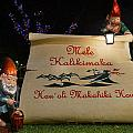 Mele Kalikimaka Sign And Elves by Aloha Art