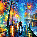 Melody Of The Night - Palette Knife Landscape Oil Painting On Canvas By Leonid Afremov by Leonid Afremov