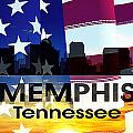 Memphis Tn Patriotic Large Cityscape by Angelina Vick