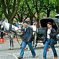 Men And Carriages In A Street Near Saint Sophia's In Istanbul-turkey by Ruth Hager