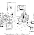 Men In A Restaurant Discuss A Patron Whose Feet by David Sipress