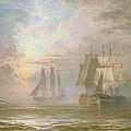 Men Of War At Anchor by Henry Thomas Dawson