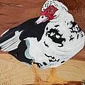 Merganser Duck Painted On Cedar by Debbie LaFrance