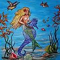 Mermaid And Seahorse Morning Swim by Lois    Rivera