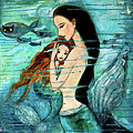 Mermaid Mother And Child by Shijun Munns