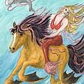 Mermaid Sea Horse Dolphin Fantasy Cathy Peek by Cathy Peek