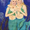 Mermaid Sisters Jelly Fish Cathy Peek Art by Cathy Peek