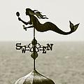 Mermaid Weathervane In Sepia by Ben and Raisa Gertsberg