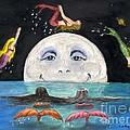 Mermaids Jumping Over Moon Cathy Peek by Cathy Peek