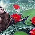Mermeid And Water Lilies by Renata Ratajczyk