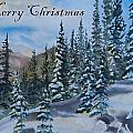 Merry Christmas - Winter Trees And Mountains by Cascade Colors