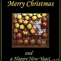 Merry Christmas And A Happy New Year - Little Gold Pears And Leaf - Holiday And Christmas Card by Miriam Danar