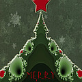 Merry Christmas Greeting - Tree And Star Fractal by Mother Nature