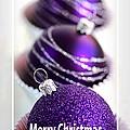 Merry Christmas Purple Baubles by Joy Watson