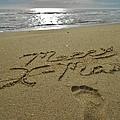 Merry Christmas Sand Art Footprint 4 12/25 by Mark Lemmon