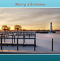 Merry Christmas Winter Marina And Lighthouse by Michael Peychich