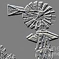 Metal Print Of Old Windmill In Gray Color 3009.03 by M K Miller