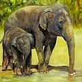 Thirsty, Methai And Baylor, Elephants  by Sandra Reeves