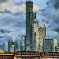 Metra Train View Sears Willis Tower Mixed Media 03 by Thomas Woolworth