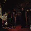 Metropolitan Philip Of Moscow 1507-90 With Tsar Ivan The Terrible 1530-84 Oil On Canvas by Jakov Prokopyevich Turlygin