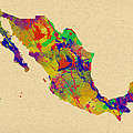 Mexico Map Watercolor by Chris Smith