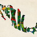 Mexico Typographic Watercolor Map by Inspirowl Design