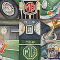 Mgb Car Collage by Karen Fleschler