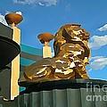 Mgm Lion In Las Vegas by John Malone