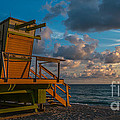 Miami Beach Lifeguard Station Glows From The First Light Of Day - Panoramic by Ian Monk