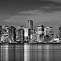 Miami Skyline At Dusk Black And White Bw Panorama by Jon Holiday