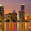 Miami Skyline At Dusk by Carsten Reisinger