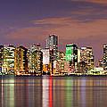 Miami Skyline At Dusk Sunset Panorama by Jon Holiday