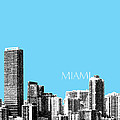 Miami Skyline - Sky Blue by DB Artist